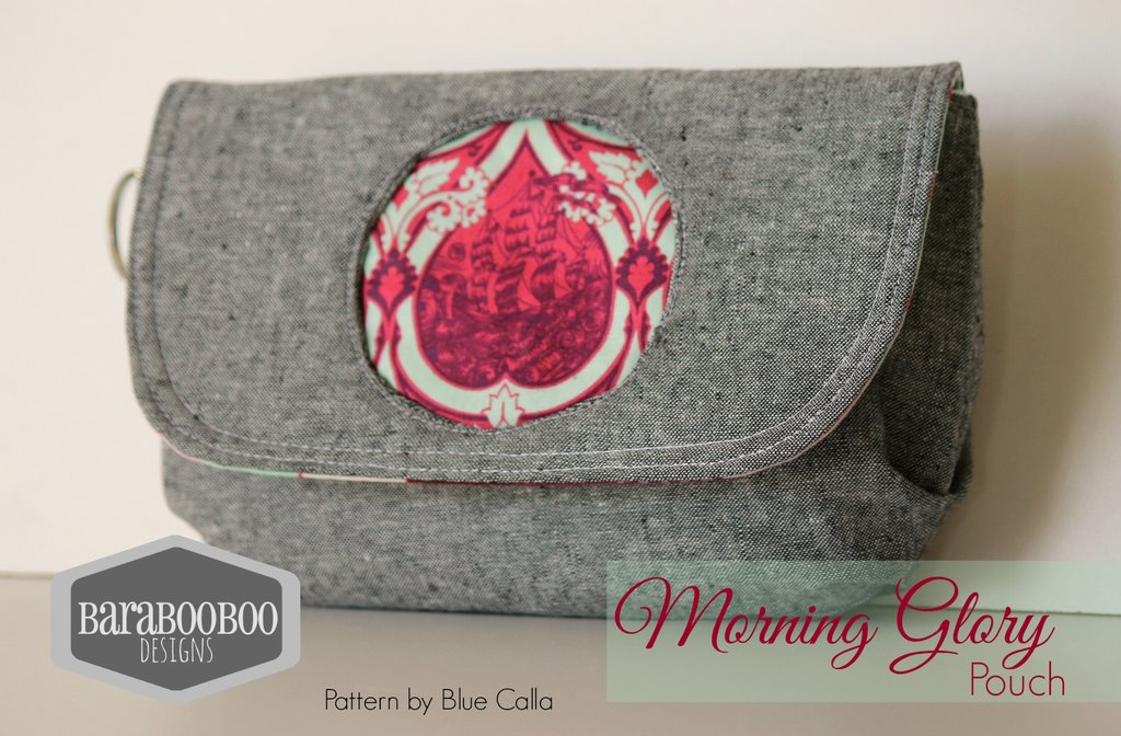 The Morning Glory Pouch has the following features: It's a small pouch It has a flap that has a magnetic snap closure There are pleats on the bottom to give the pouch some depth There is a reverse applique circle on the flap that allows you to feature a small piece of your favourite fabric The pattern's instructions include a small slip pocket inside