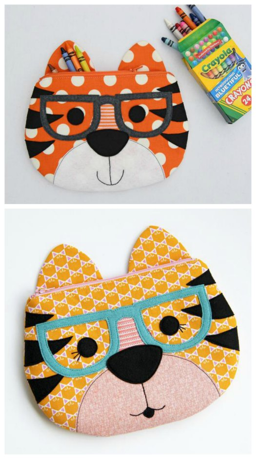 Children will love owning one of these fun zipper pouches that have the face of a tiger. They can store all kinds of school supplies in them or some of their smaller favorite toys. These zipper pouches are fully lined and can be completed by a confident beginner sewer who has the knowledge of some basic sewing skills required. It's the perfect pattern for a beginner who has never sewn a zipper before.