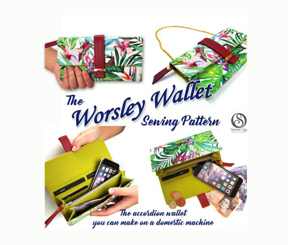 The Worsley Wallet, ladies money purse sewing pattern, has been engineered so that you can make an accordion purse on a domestic machine with ease. This pattern has been painstakingly developed so you don't have to fight with your machine. The layers have been engineered to the absolute minimum to enable you to stitch through everything easily.