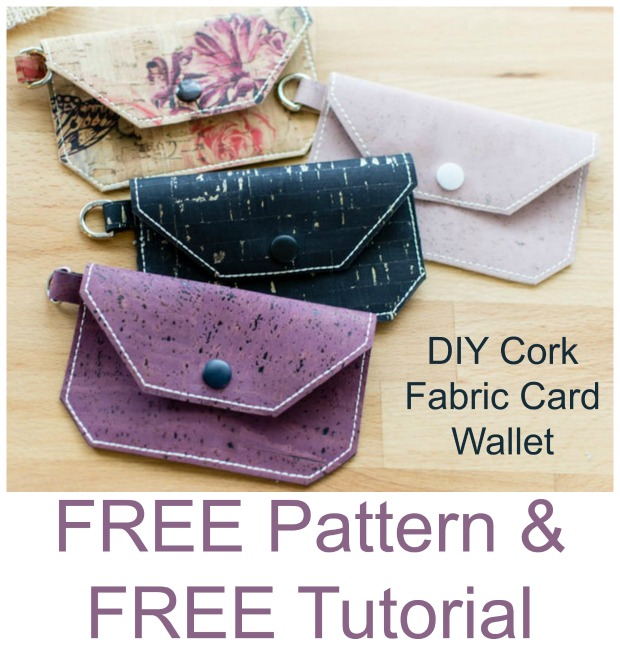 DIY Cork Fabric Card Wallet - FREE sewing tutorial & pattern