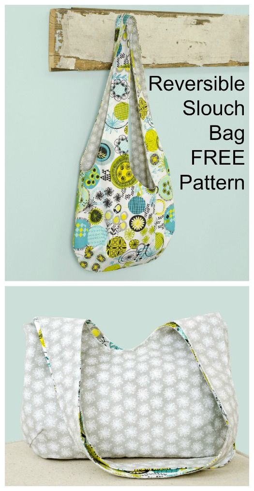 Reversible Slouch Bag FREE sewing pattern class=