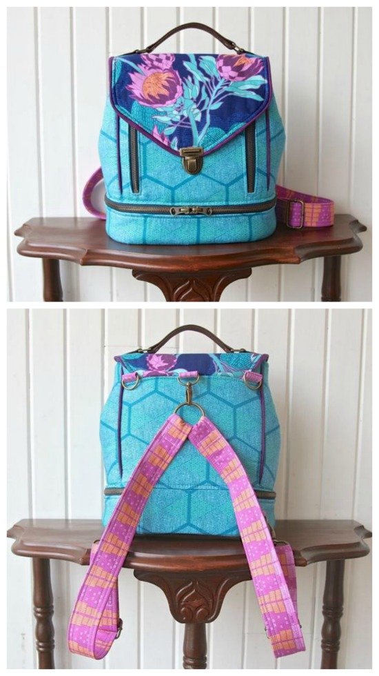 This is one of this designers Best Seller patterns. The Clover is a medium sized bag and as the name implies, it can convert from a backpack to a crossbody bag. The Clover Bag has two exterior zippered pockets under the flap, the flap has a thumb lock (or tongue lock or tuck lock) closure with a handle at the top for carrying, the interior of the bag has 2 slip pockets and 1 zippered pocket, the strap is adjustable to the length of your choice.