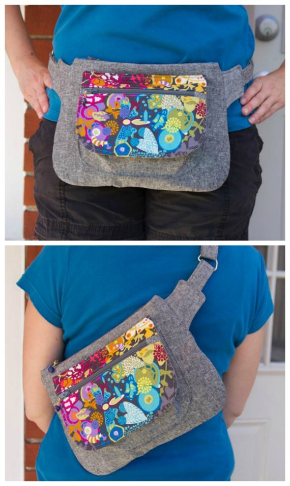 Here's a great pattern for a bag that can be worn two different ways, either as a bag around your waist or as a bag slung over your shoulder. It's called The Orchid Waist/Sling Bag.
