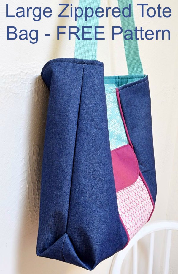 Large Zippered Tote Bag - FREE sewing pattern & tutorial