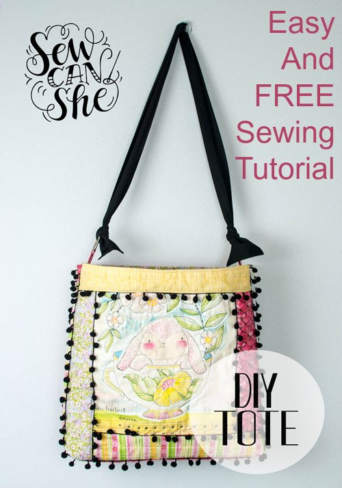 Quilt As You Go Tote Bag With Pom Poms FREE sewing tutorial