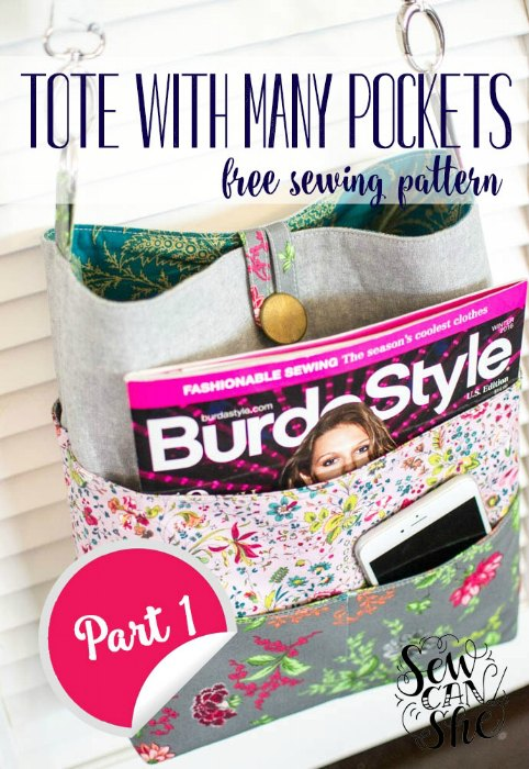 How to Sew A Tote Bag With Many Pockets - FREE sewing pattern