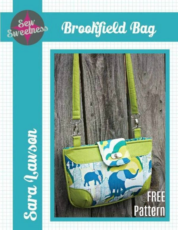 Here's a great FREE pattern to make this small bag, called the Brookfield Bag. With this project you'll be able to try out several fun bag-making bag techniques, like: adding a metal twist lock, using piping in a bag, making darts, and adding elastic pockets.