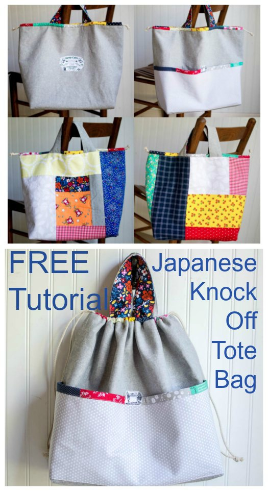 Japanese Knock Off Tote Bag FREE sewing tutorial