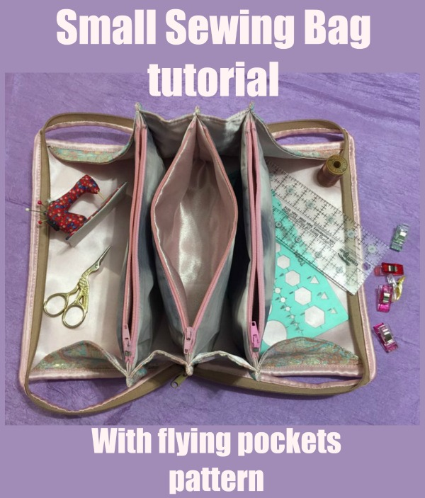 Small Sewing Bag tutorial with flying pockets pattern