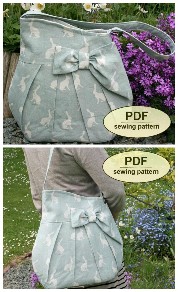 It's not very often on Sew Modern Bags that we recommend a bag pattern that is named after a movie. This is a digital sewing pattern for The Brief Encounter Bag, named after the classic 1945 film of the same title. This is an Etsy best seller for this designer and you can see why with its elegant curved shape, pretty pleating at the front and back, and stylized bow trim.