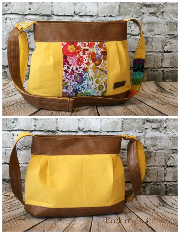 The Zinnia Zippered Panel bag has the following features: An adjustable crossbody strap A zippered pocket for the main closure Three slip pockets inside the bag