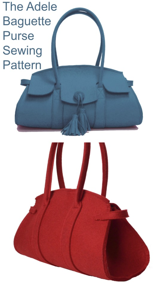 Here is the Adele Baguette Purse which is an easy to make sewing pattern. The talented designer has made a sassy little high fashion handbag that is right on trend with the 'chicest' of silhouettes. The long and wide curvy baguette lines just shout catwalk couture.