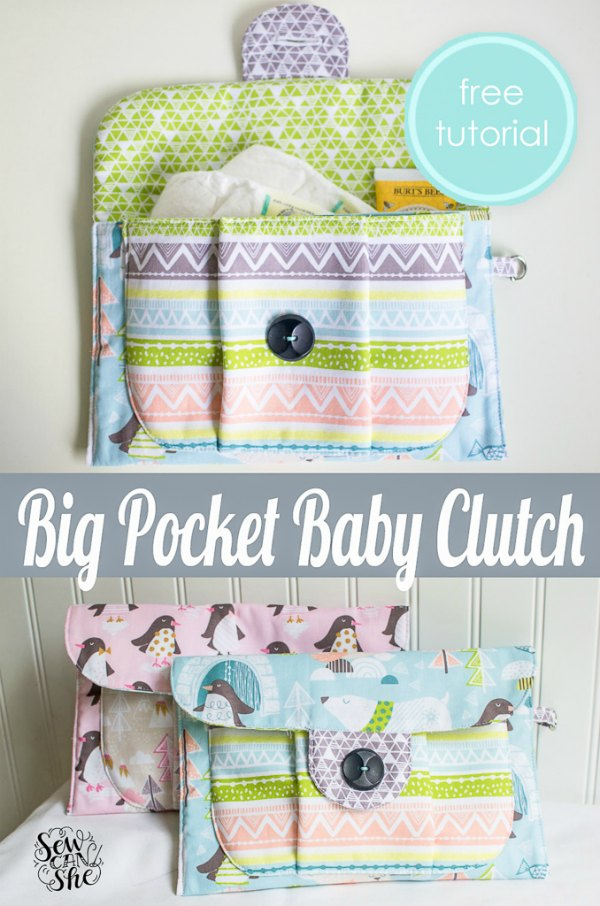 Big Pocket Baby Clutch FREE sewing pattern & tutorial