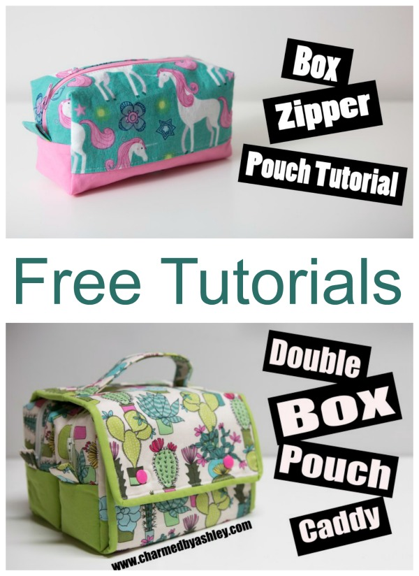 Here's something original and really kind of different and neat. We love this project and the designer who has made it is very talented. It's a Double Box Pouch Caddy that holds two Box Zipper Pouches. And the designer of both has made a free written tutorial for each of the projects, and as extra help, she has made a YouTube video tutorial for each of the projects as well. Whether you like to learn by reading or watching, or both, this talented designer has thought of everything.