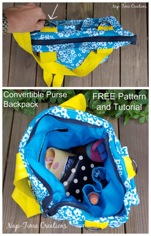 What an absolutely fabulous bag pattern this designer has given us all. When you want, it easily and quickly converts from a backpack to a purse, and then back again. And what is great as well the pattern and the tutorial are completely free.