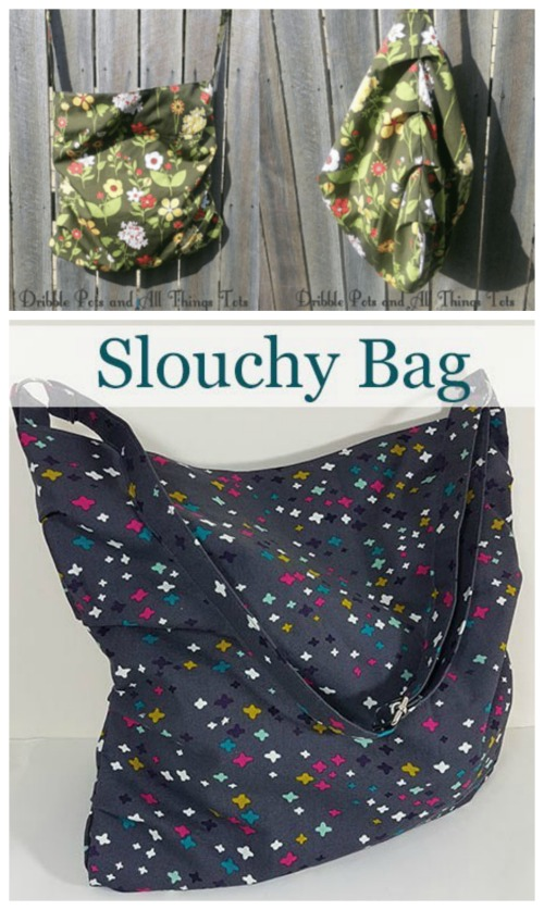 Here's a free pattern for the unisex Slouchy Bag. It's a quick project that only needs one yard of fabric and can be made in just one afternoon or evening. This Crossbody Bag is perfect as a shopping bag or you can pop in all sorts of your possessions and use it as a general everyday bag.