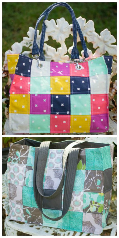 Speedy Patchwork Tote Bag FREE sewing tutorial