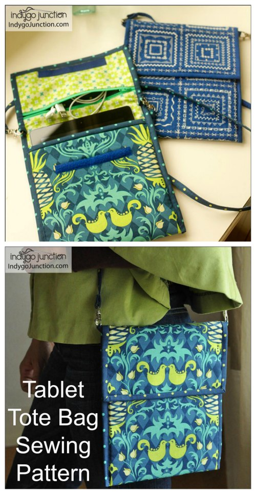 If you want to protect your tablet in style then here is an excellent sewing pattern to make this padded Tablet Tote Bag. Inside the Tablet Tote Bag, you will find a zippered compartment to hold earphones or a power cord. The handy carrying strap is removable to easily tuck the tote into another larger case.