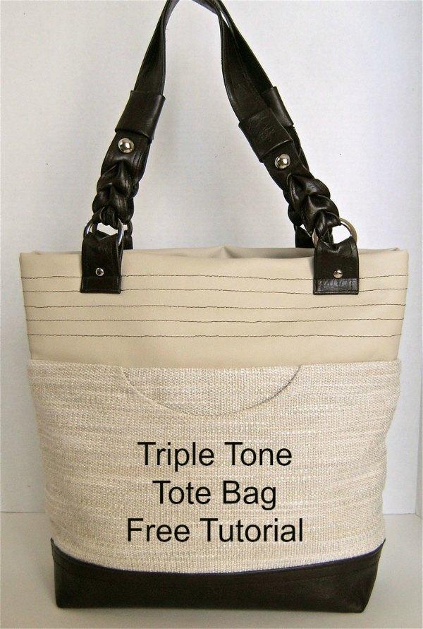 Triple Tone Tote Bag Free Pattern
