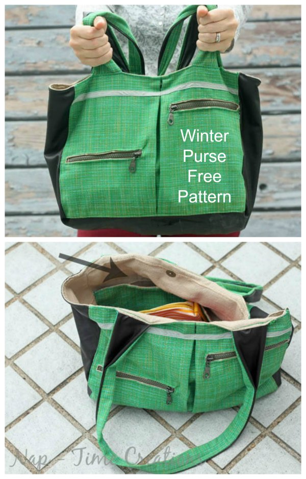 "Here's a great free pattern for the Winter Purse. The designer of this purse has added two pockets on the outside and two on the inside to hold everything you need. She describes her purse as ""Not too small and not too big this purse is perfect for this winter"". This purse is easy to sew and the designer has used big chunky zippers on the front of the purse to keep all your important stuff, like your phone, safe. With a big pleat added to the middle, this bag carries everything you will need."