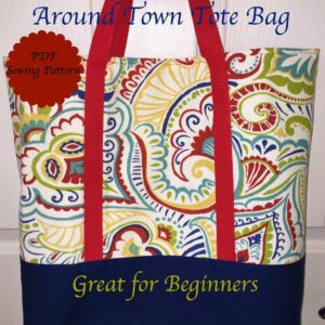 Tote bag sewing pattern image of front cover of pattern