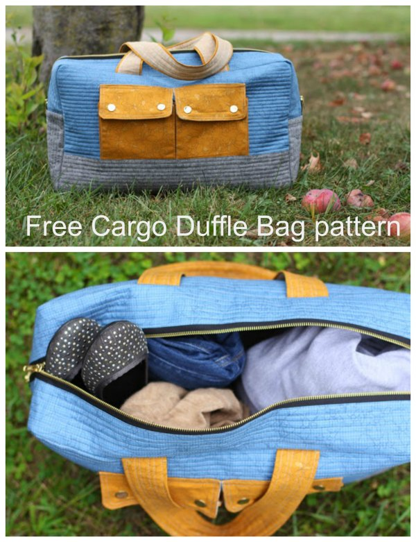 This designer has made an absolutely fabulous Cargo Duffle Bag. Doesn't it look fantastic? And the designer has very kindly made it as a free pattern. We think it is one of the nicest overnight bags or carry on bags that we have ever shown you here. It's a great size and has been made with those cute front pockets.