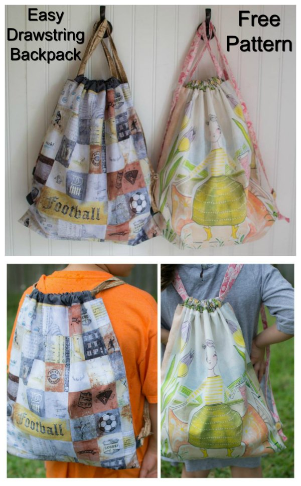 With this free Easy Drawstring Backpack pattern, you can make a lined backpack for your daughter and son, and friends and family. It's not very often that you can sew for a boy or a girl. This is an easy project which is perfect for beginners.