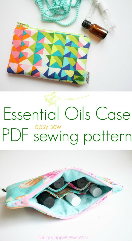 If you would like to make a Cosmetic Case for your essential oils then we have the perfect pattern for you. This travel case allows you to carry your oils without fear of breaking the glass containers they come in.