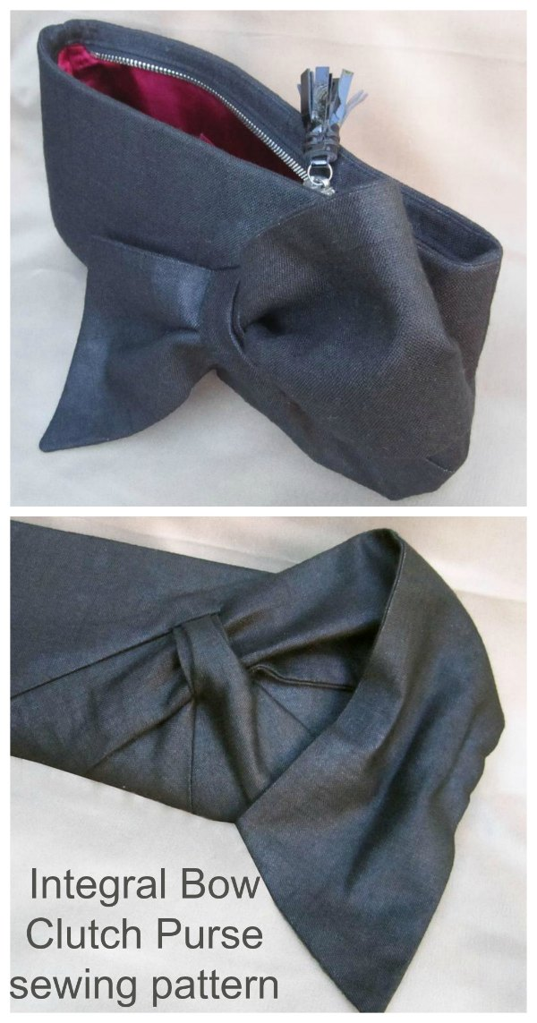 "This is the Integral Bow Clutch Purse sewing pattern. This digital download is for a structured, zipped clutch with a beautiful sumptuous bow on the front. The bow is not ""stuck on"", instead it's integrated into the body of the front panel."