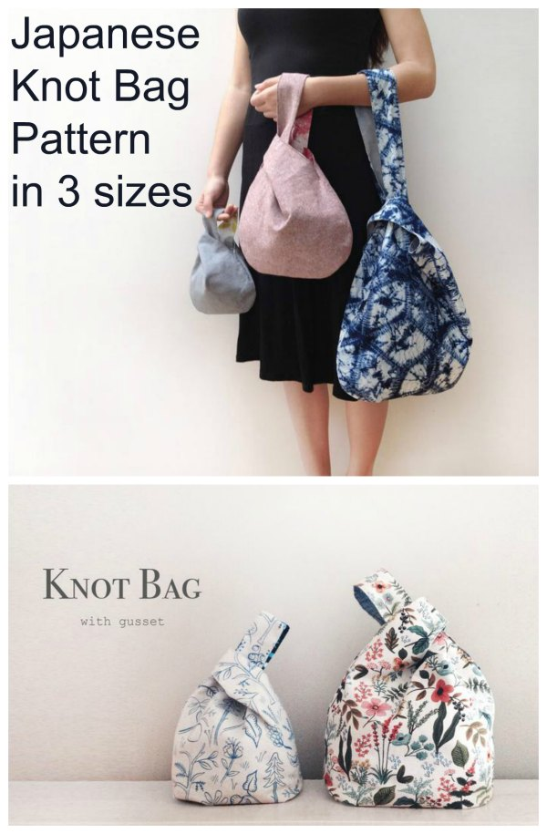 This is one of this designers best selling designs. Her Japanese Knot Bag Pattern is a quick and easy project that is suitable for anyone with even minimal sewing experience. The designer has given you three patterns for the price of one as she has made her Japanese Knot Bag Pattern in three sizes - small, medium and large.