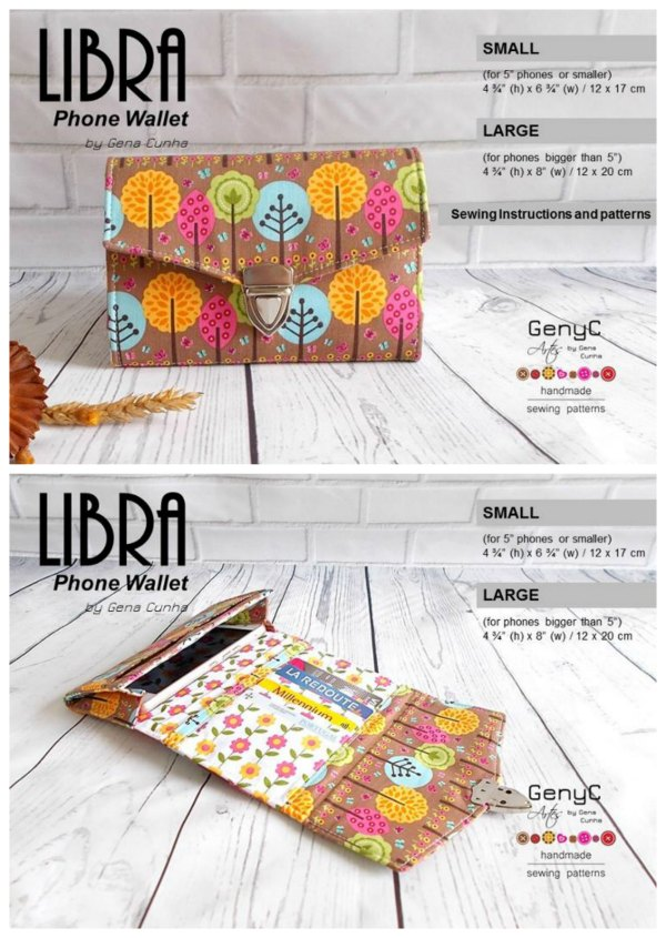 "This is the Libra Phone Wallet pattern that the designer has made to fit two sizes of phone. There's the large size for phones bigger than 5"" and a small size for 5"" phones or smaller."