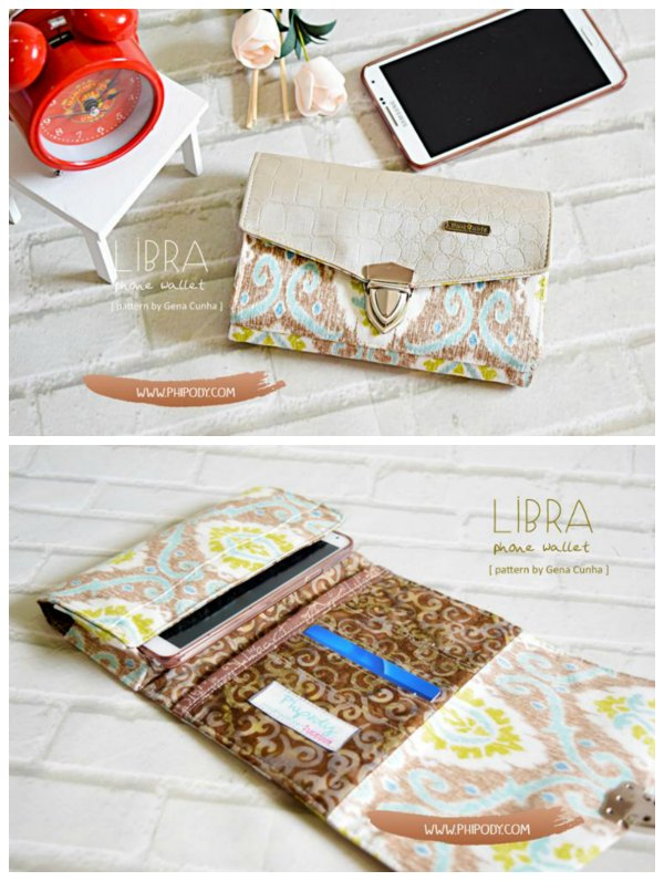 """This is the Libra Phone Wallet pattern that the designer has made to fit two sizes of phone. There's the large size for phones bigger than 5"""" and a small size for 5"""" phones or smaller."""