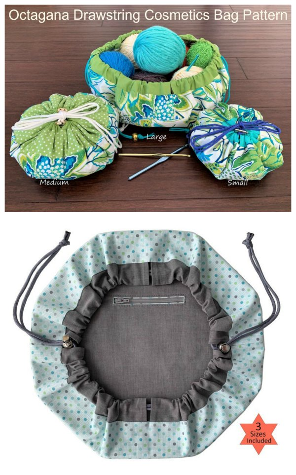 If you want to make yourself a drawstring closure bag and keep all of your items safe then here is the perfect solution, it's the Octagana Drawstring Cosmetics Bag pattern. It's designed with a wide-open mouth and you have the option of adding an inside zippered pocket to keep even your smallest items safe such as jewelry and keepsakes. It comes in three sizes.
