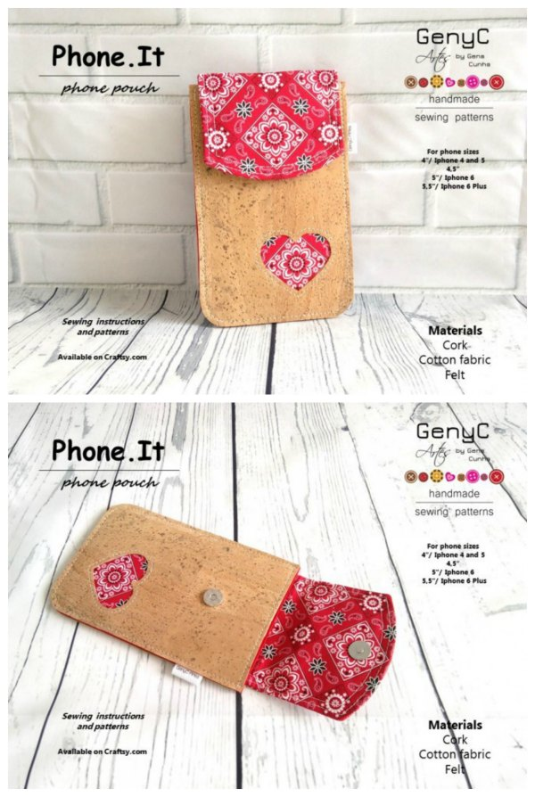 If you would like to make your very own phone pouch or make one as a present for friends or family then we have an excellent digital pattern here for you.  The pattern and instructions are easy to follow and suitable for beginners. The pattern pieces are for specific phone sizes, however, the designer has included instructions of how to adapt the pattern to any size of phone.