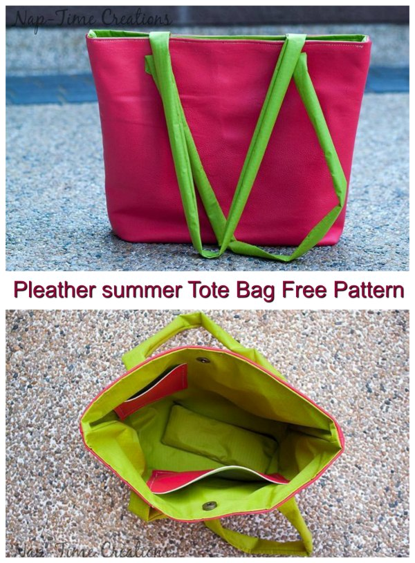 The designer of this bag pattern has used pleather, however, if you like you can always use leather. This is a Free pattern for a great Pleather Summer Tote Bag. This one has a real summer and fun look about it. It's an easy tote bag to make so only basic sewing skills are needed but you end up with a classy and versatile looking bag.