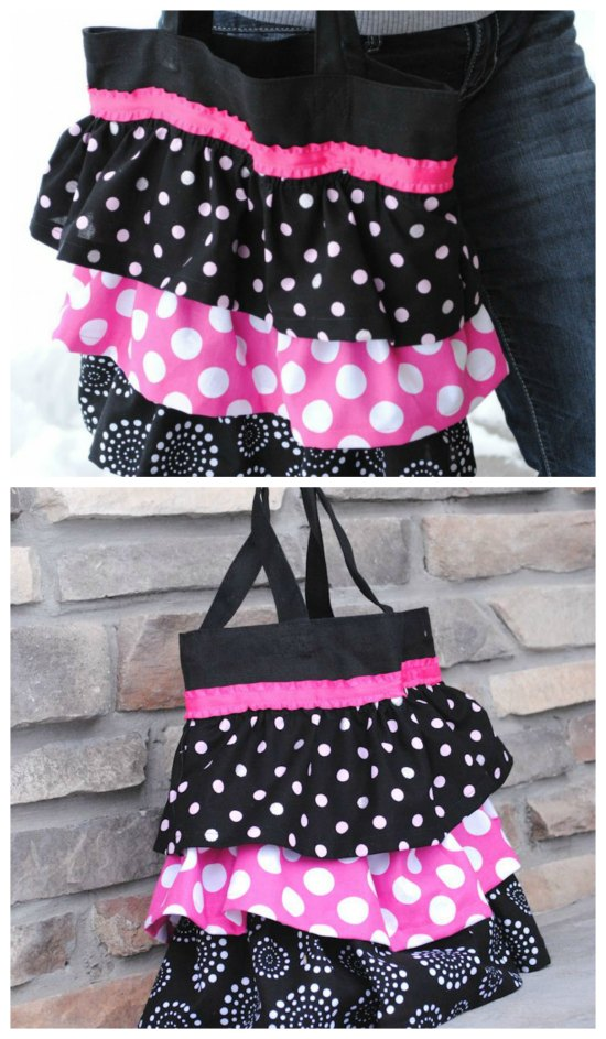 "Ruffle Tote Bags are really cute and this one is one of the best and it comes with a free tutorial. The talented designer turned this bag into something that she would like to carry around herself. It's a pretty simple bag to make and you can also add a little bow for embellishment if you want. She has added three layers of ruffles onto a cute little tote bag and as she says ""It's got hot pink in it and that makes me happy"". You can obviously use whatever colors you like."