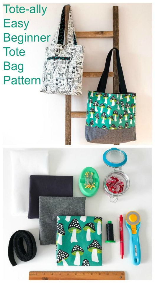 """The designer of the Tote-ally Easy Beginner Tote Bag has given you two bags for the price of one. You can make two different sizes/variations -- The Simple Tote and the Market Tote. From the title, you will see that she has also made the bags both easy to make and perfect for a beginner sewer. As she says they are """"A great pattern to make with kids learning to sew""""."""