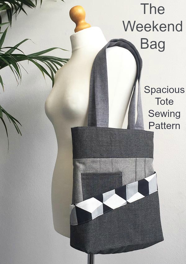 This is a great spacious Tote Bag that has lots of details that can be coordinated with each other. The band across the wrap pocket, the phone pocket, the lining and the zip-casing can all contrast or co-ordinate. With the four separate areas of fabric on the bag, you'll have lots of scope and fun to design a Weekend Bag that is perfect for you. It's also a chance to use up some of your favorite scrap fabrics.