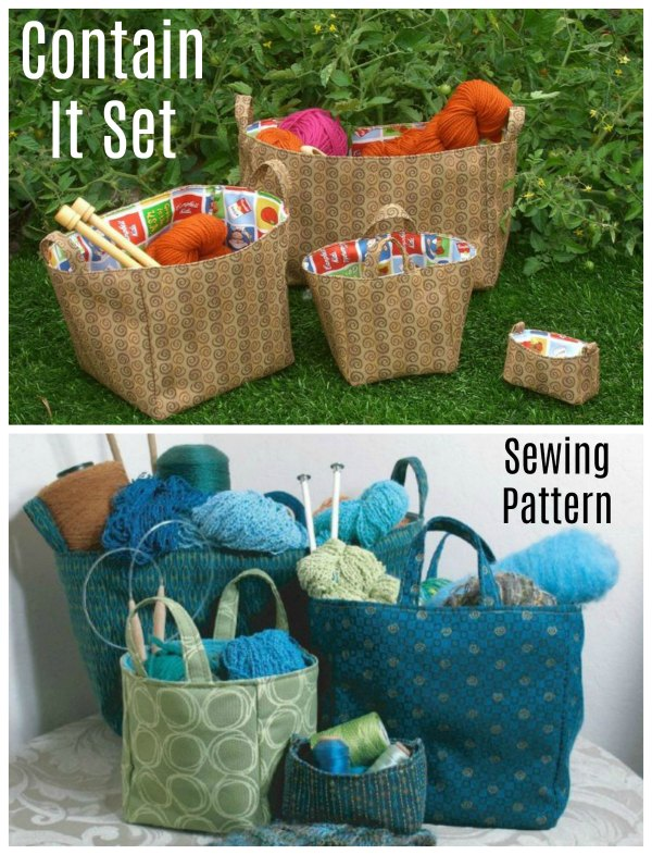 Here's a fabulous set of boxes/ baskets for you to keep everything organised and contained. This Contain It Set of boxes/baskets is a quick and simple sewing pattern project for a beginner sewer.