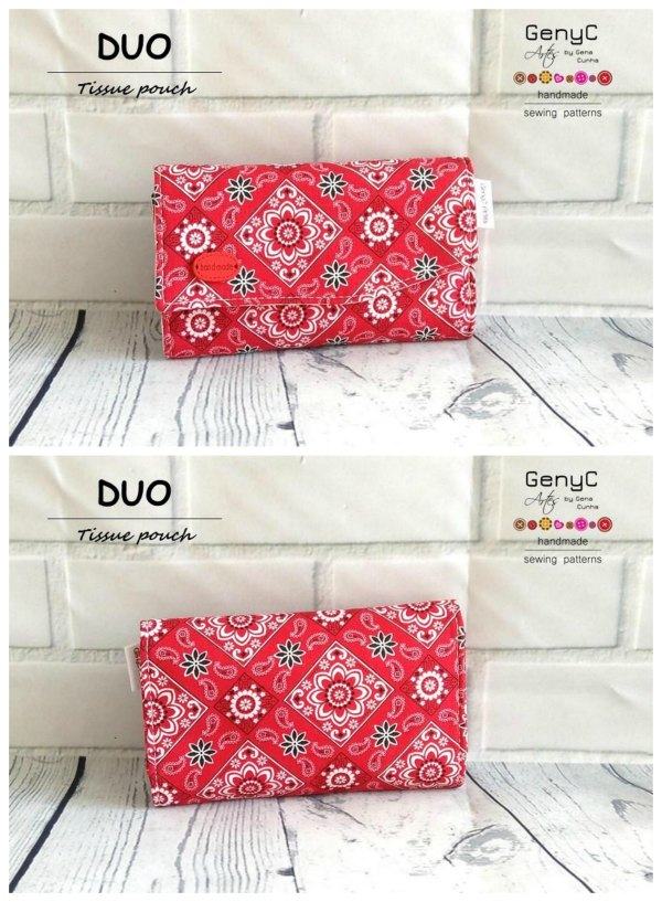 Why not make yourself a lovely pouch for your tissues? You can make one for yourself or lots as presents for friends and family, or even make some to sell. The Duo Tissue Pouch is very versatile, it can also be used as a phone pouch or to put your essential oils for example.