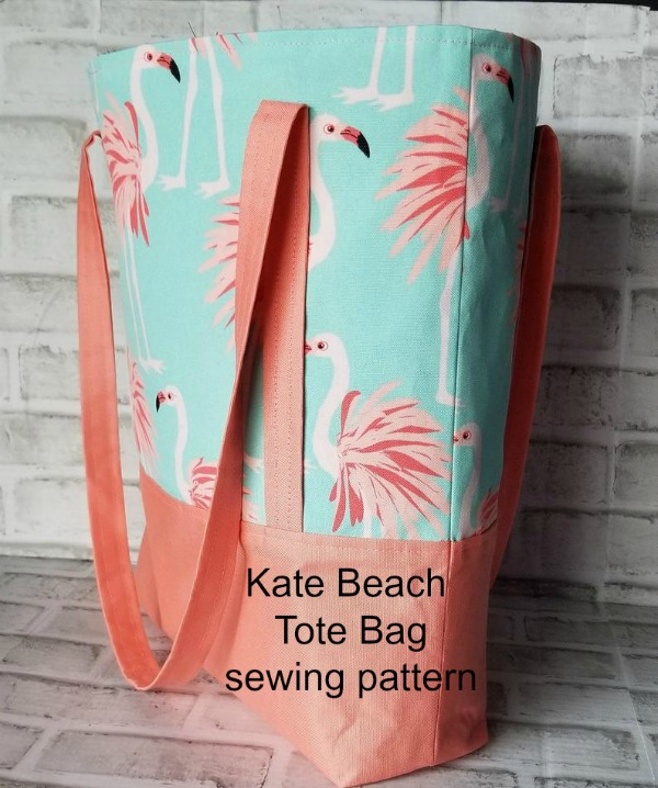 This tote bag makes a perfect beach bag and her name is Kate. Put that all together and you get the Kate Beach Tote Bag digital sewing pattern. Kate is perfect for the advanced beginner/intermediate sewer and she can be used for lots of jobs, like the beach, overnight trips, groceries or whatever your fancy.