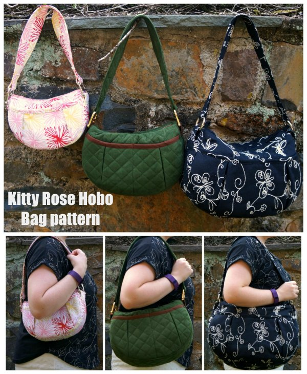 When we add a Hobo Bag to our website they are always very popular. This is the Kitty Rose Hobo Bag which is a stylish hobo bag that the designer has made patterns for in three separate sizes.