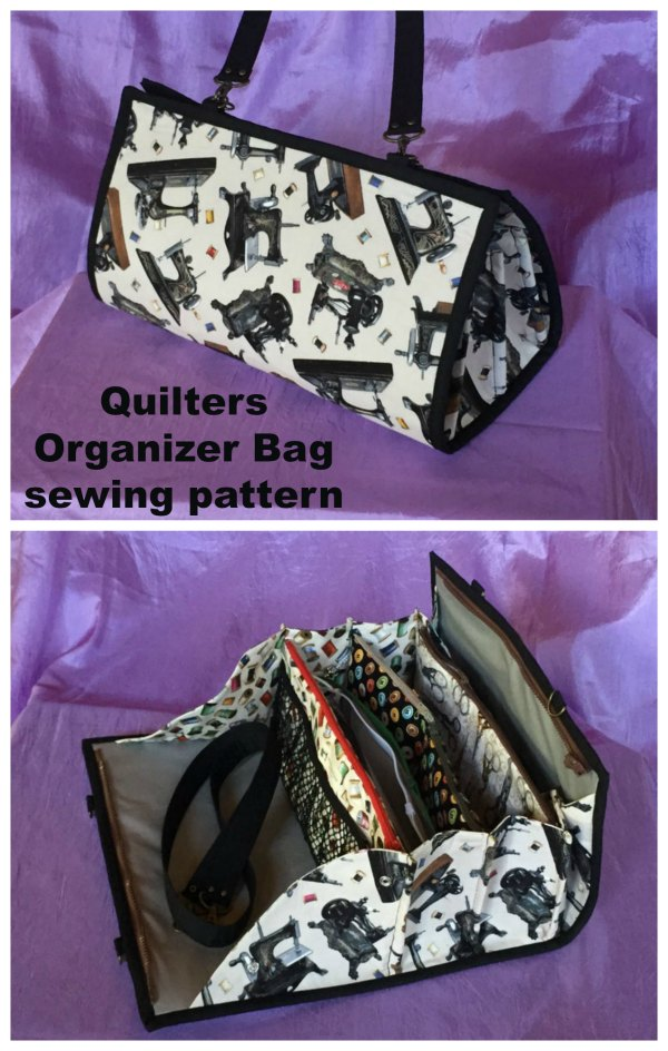 This is the Quilters Organizer Bag sewing pattern and it makes the perfect organizer bag for your quilting (or other) tools and supplies for classes and retreats.