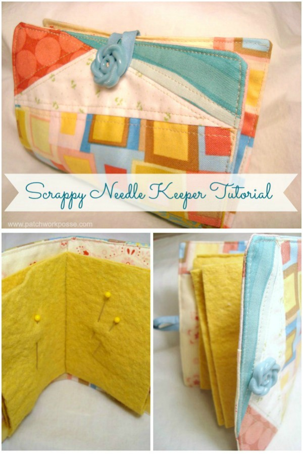 Here is a free tutorial of how to make a Scrappy Needle Keeper. The talented designer makes it using scraps and bits of fabric and it's super easy and great for beginners. So if you have a lot of scraps hanging around then this is the project for you.