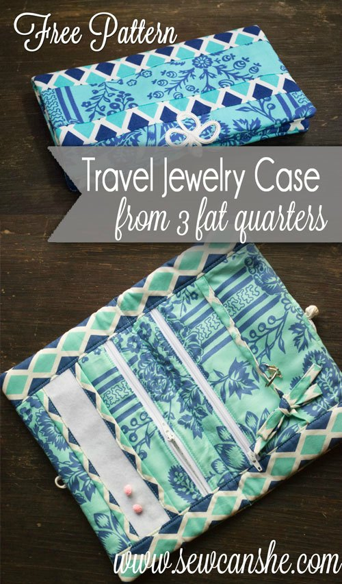 Travel Jewelry Case from 3 fat quarters - FREE sewing pattern