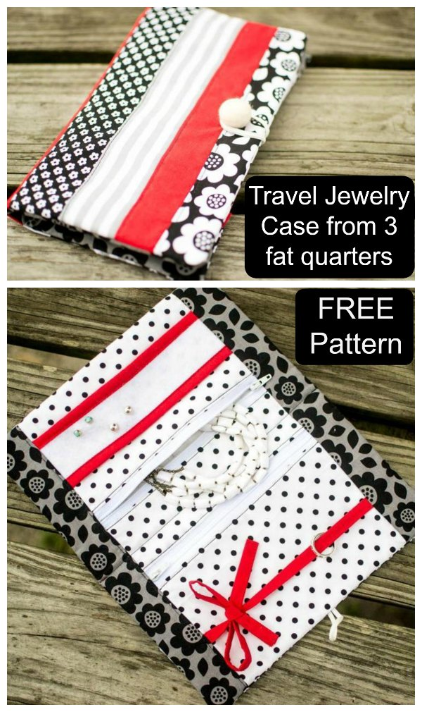 This is a Travel Jewelry Case that can be made from three fat quarters. This lovely case has spots for your earrings, rings, necklaces, and bracelets. And as a bonus the pattern is FREE.