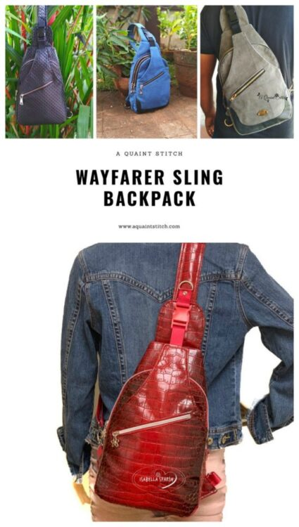 If you want to make a sleek and functional everyday carry sling backpack then this designer has given you instructions to make the backpack in two different styles. The Wayfarer Sling Backpack has a re-positionable cross-body strap design which makes it easy to sling the backpack from the back to the front or carry it as a shoulder bag while allowing quick access to all compartments.