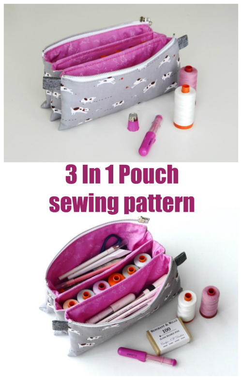 Here's a great sewing pattern for the 3 In 1 Pouch which is a zipper pouch with three separate compartments.