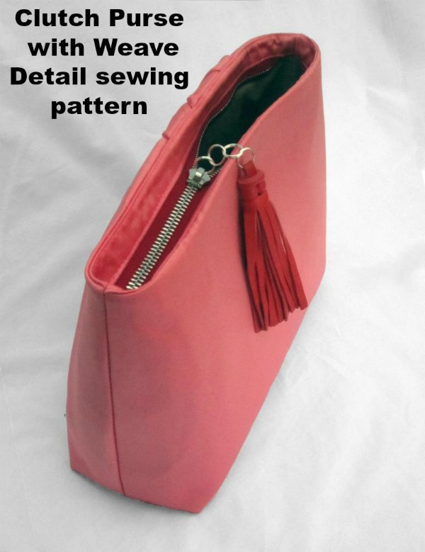 This pattern & tutorial shows you how to make a lovely structured clutch purse with a beautiful woven front & gently curved top detail reminiscent of vintage glamour. It's closed with a sunken/ hidden zip construction for a clean, professional-looking finish. The clutch is fully lined & has an internal credit card sized pocket for extra practicality.