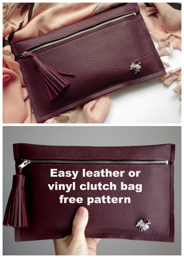 Making this Leather or Vinyl Clutch Bag is as easy as it gets!  It's also super cheap if you reuse leather by taking an offfcut fom an old bag or coat.  And with all that great news there is even more as the designer has produced a free pattern for this simple and quick project.  You can also use any thick material like felt or PVC sheets instead of leather, however, when using any of these thicker materials make sure to use a leather needle for your sewing machine.